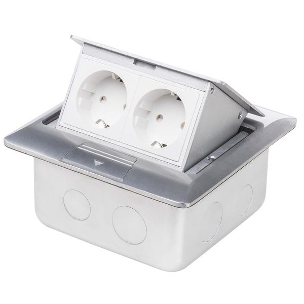 LEDmaxx 2-fach-Boden- und Wand-Einbausteckdose mit 2 Schutzkontakt-Steckdosen und versenkbarer Flüge