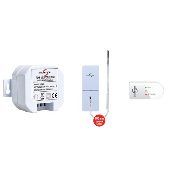 PROTECTOR Funk-Thermo-Einbau-Abluftsteuerung mit Funk-Fensterkontakt und Funk-Thermosensor