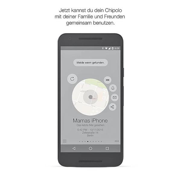 Chipolo Classic 2. Generation Bluetooth-Schlüsselfinder, für iOS und Android, schwarz