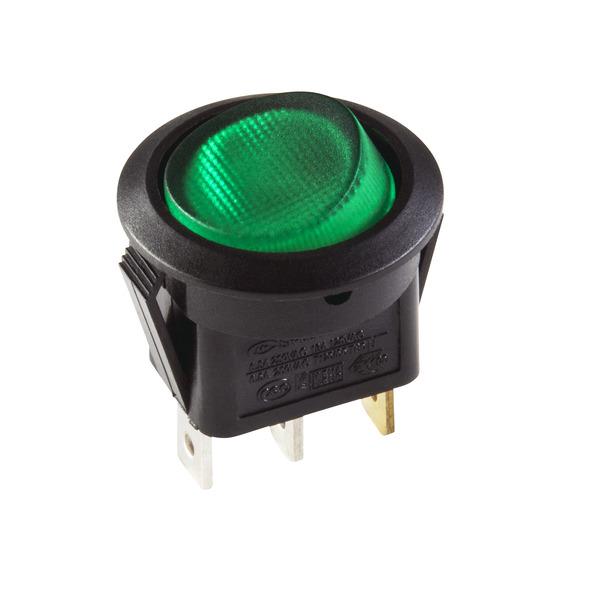 inter Bär Einbau-Wippenschalter Serie 3630, 6,5 A, 250 V, schwarz/grün