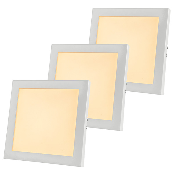 ELV 3er Set 9-W-LED-Panel, quadratisch, warmweiß