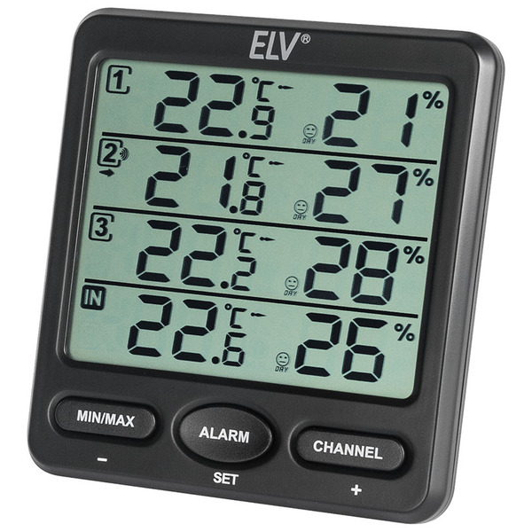 ELV Raumklimastation RS100, inkl. 3 Thermo-/Hygrosensoren mit LC-Display