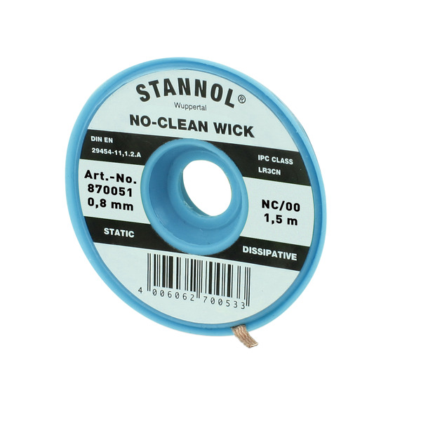 Stannol No-Clean Entlötlitze, ESD-verpackt, 1,5 m lang, 0,8 mm breit