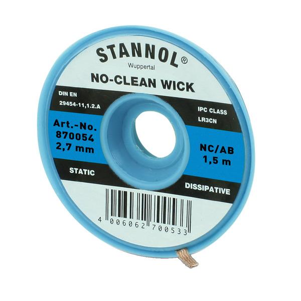 Stannol No-Clean Entlötlitze, ESD-verpackt, 1,5 m lang, 2,7 mm breit