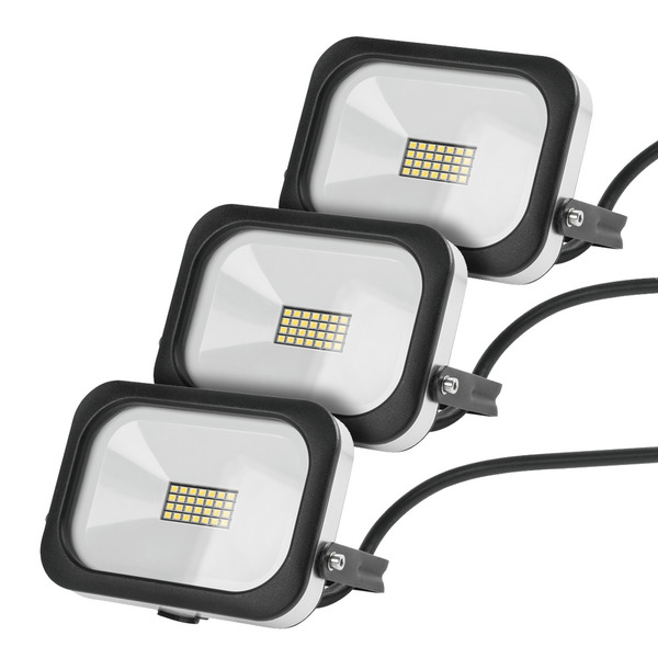 3er Set 10-W-Slim-LED-Flutlichtstrahler, kaltweiß, IP54