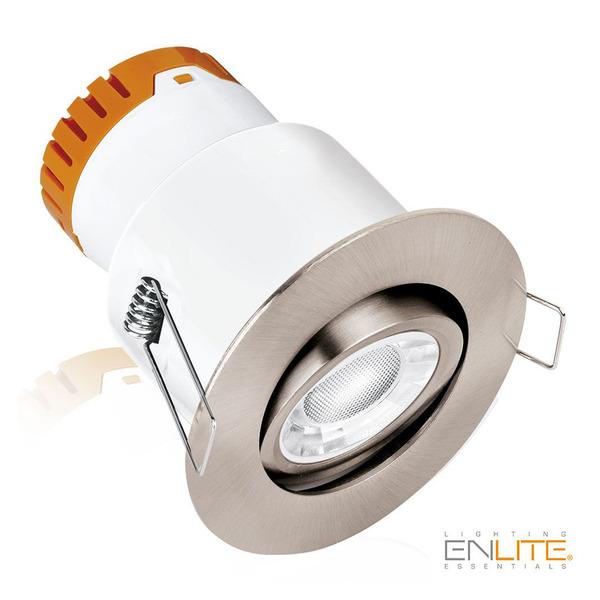 Enlite Lighting Essentials 8-W-LED-Downlight, schwenkbar, warmweiß (3000 K), IP20, satin/nickel