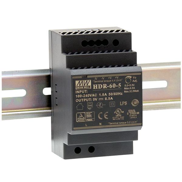 Mean Well Hutschienennetzteil 60 HDR-60-24 24 V, 2,5 A, 60 W, für Smart Home und Haussteuerung