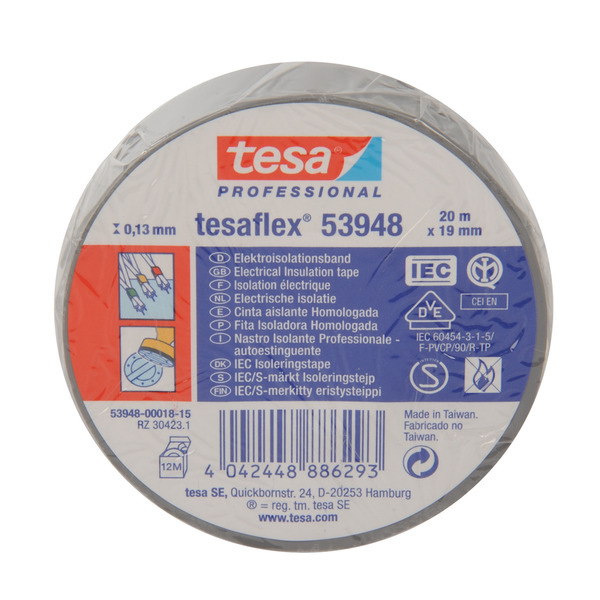 tesa tesaflex Isolierband, VDE/IEC, silbergrau, 19 mm, 20 m Länge