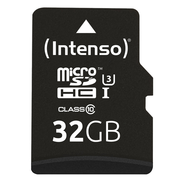 Intenso microSDHC-Karte, Class 10, UHS-I Professional, mit SD-Adapter, 90 MB/s, 32 GB