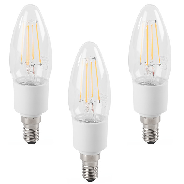 ELV 3er Set FL BASIC DIM B40 4,5-W-LED-Kerzenlampe E14, warmweiß, dimmbar