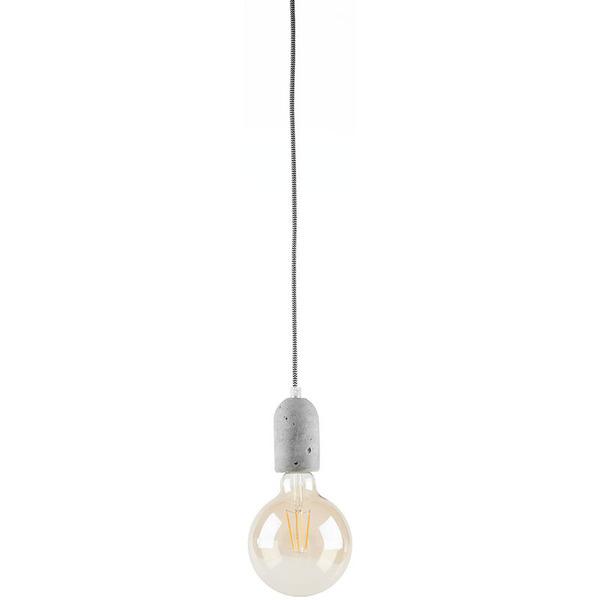 LEDmaxx Beton-Lampenfassung mit Textilkabel (schwarz/weiß) und Baldachin