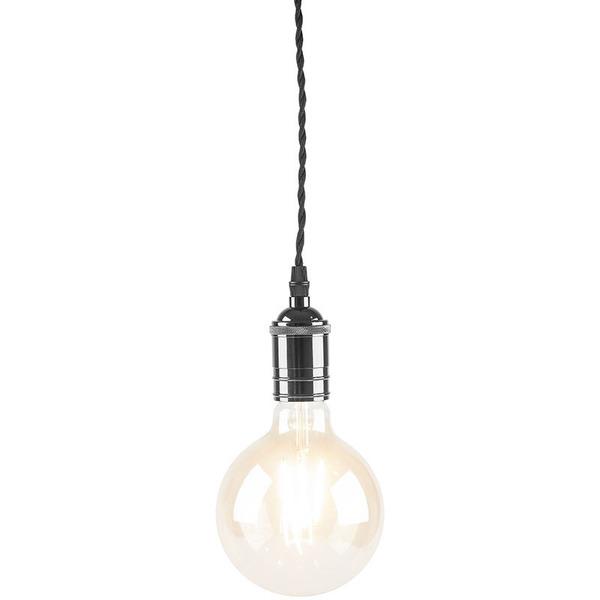 LEDmaxx Metall-Lampenfassung V2 mit Textilkabel (schwarz) und Baldachin