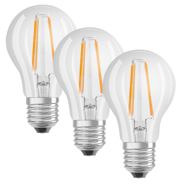 OSRAM LED PROMO 3er Set 7-W-Filament-LED-Lampe E27, warmweiß, klar