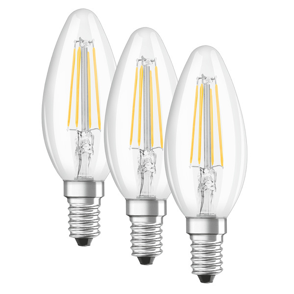 OSRAM LED PROMO 3er Set 4-W-Filament-LED-Kerzenlampe E14, warmweiß, klar