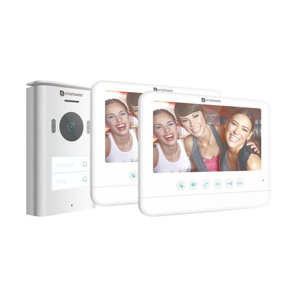 Smartwares 2-Draht-Video-Türsprechanlage für 2-Familienhaus mit 17,78-cm-Bildschirm
