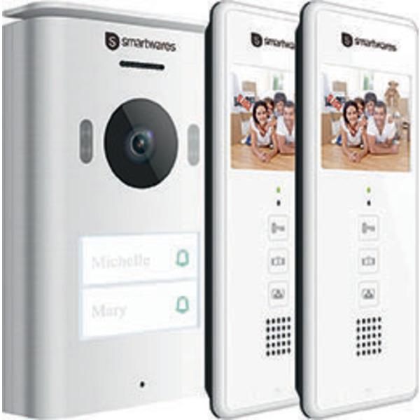 Smartwares 2-Draht-Video-Türsprechanlage für 2-Familienhaus mit 8,89-cm-Bildschirm