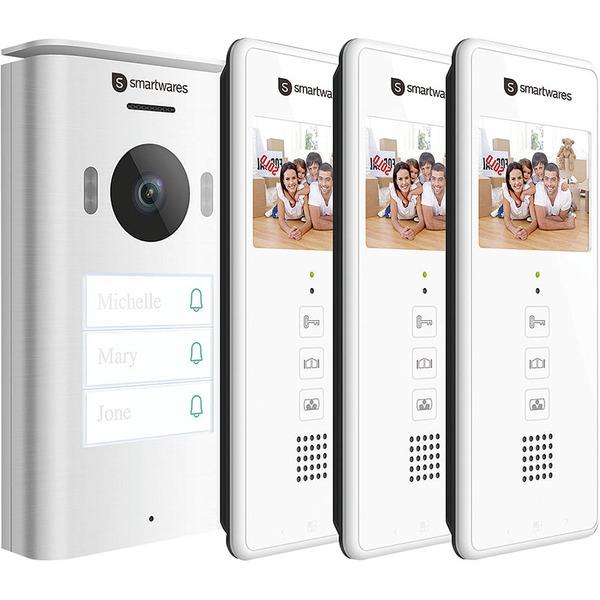 Smartwares 2-Draht-Video-Türsprechanlage für 3-Familienhaus mit 8,89-cm-Bildschirm