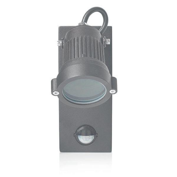 Smartwares Sensor-Wandleuchte mit PIR-Bewegungsmelder, Leuchteinheit ausrichtbar, schwarz, IP44