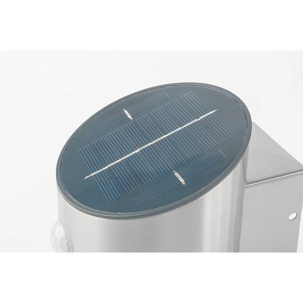 ELV 2-W-Solar-LED-Wandleuchte mit Bewegungsmelder, silber, IP44