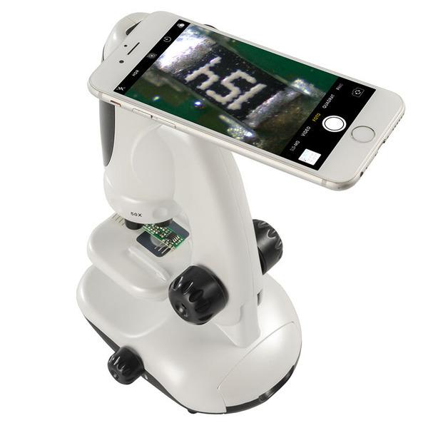 Velleman Mikroskop mit Smartphonehalterung, bis zu 400x Vergrößerung