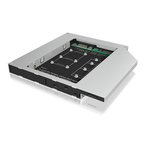 ICY BOX mSATA/ M.2 SATA SSD-Adapter IB-C650, für Notebook DVD-Schacht, Aluminium, inkl. Schraubenzie