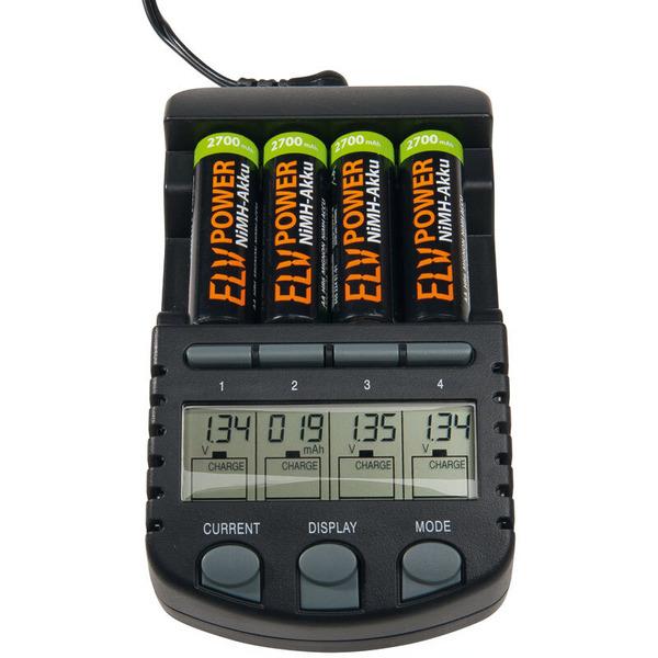 ELV Ladegerät BC 700 + 4er Pack Powerex-NiMH-Akku, Mignon AA 2700 mAh