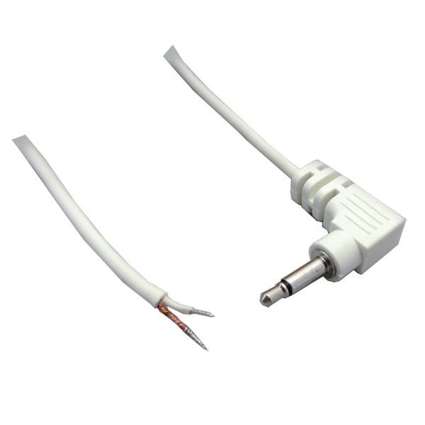 BKL Electronic Audio-Anschlusskabel, geschirmt, Klinkenstecker 2,5 mm mono, winkel, 1,8 m, weiß