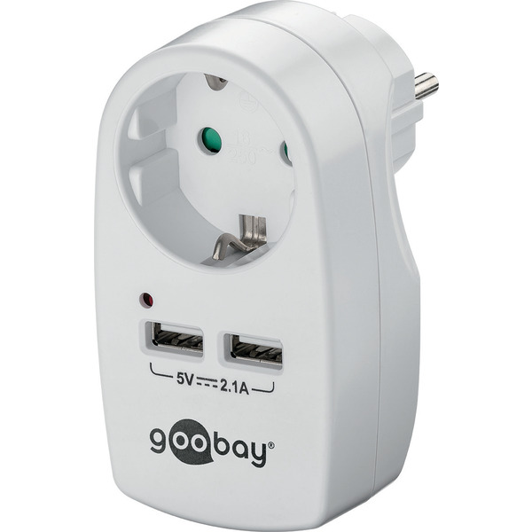 Goobay Schutzkontaktsteckdose mit 2x USB-Port 2,1A