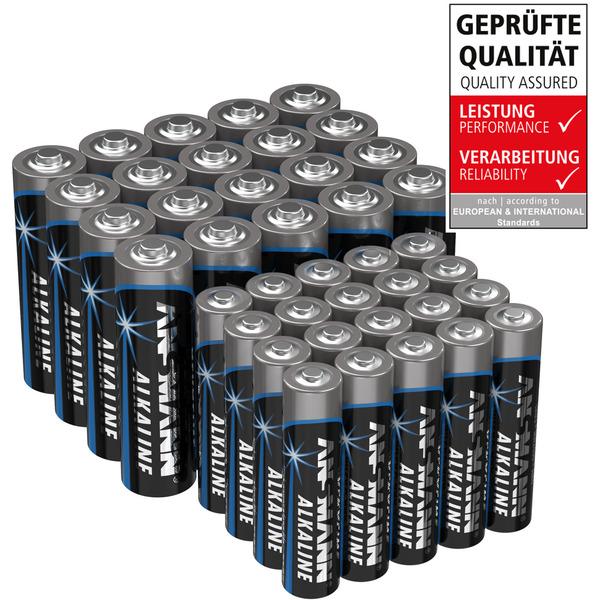 Ansmann Alkaline Batterie Vorratspack, 20x Mignon AA, 20x Micro AAA