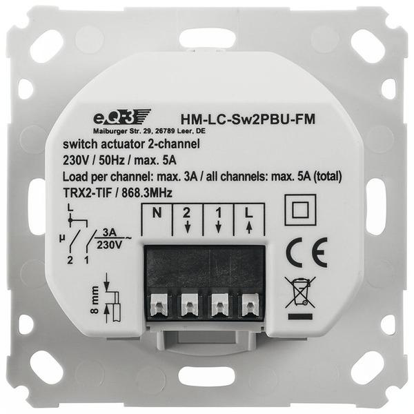 ELV Homematic Komplettbausatz Funk-Schaltaktor 2-fach für Markenschalter, HM-LC-Sw2PBU-FM