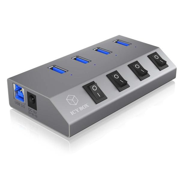 ICY BOX aktiver 4-Port-USB-3.0-Hub IB-HUB1405, An-/Ausschalter für jeden Port, bis zu 5 Gbit/s, Alum