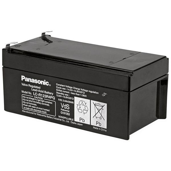 Panasonic Blei-AGM-Akku LC-R123R4PG, 12V, 3,4Ah,  Longlife 10-12 Jahre, 4,8mm Kabelschuhanschluss