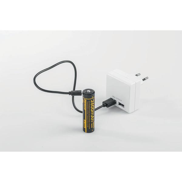 NiteCore Lithium Ion Akku 18650, 2600 mAh mit Micro-USB Ladeanschluss