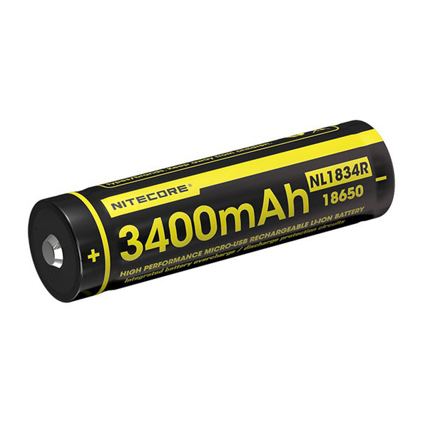 NiteCore Lithium Ion Akku 18650, 3400 mAh mit Micro-USB Ladeanschluss
