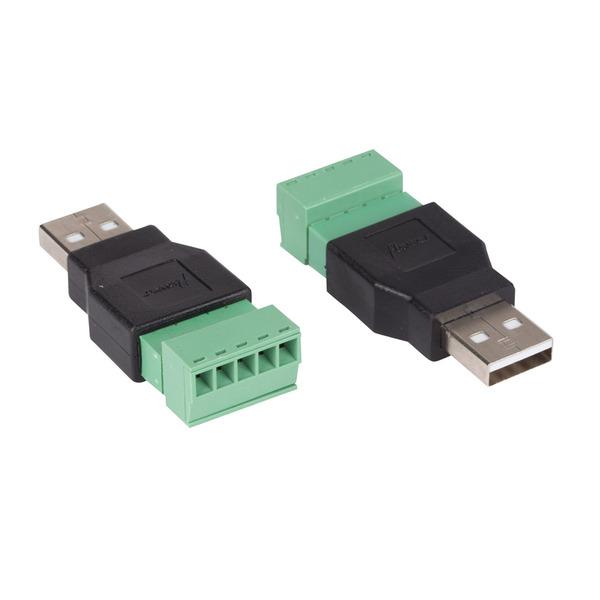 Velleman USB-Adapter, USB-Stecker (Typ A) auf 5-pol. Lüsterklemme, 2er-Set