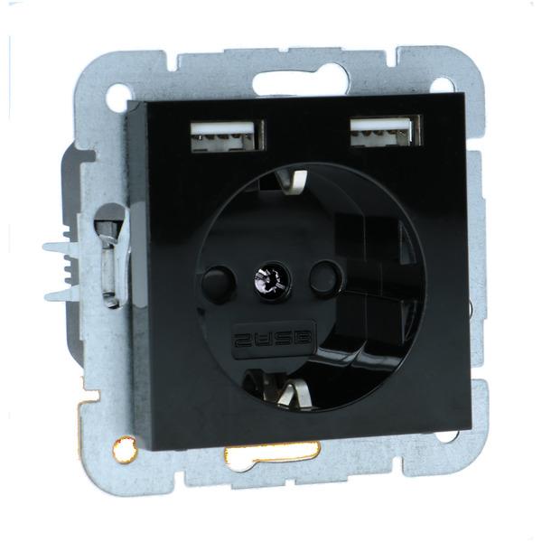 Schutzkontakt-Steckdose mit 2 USB-Ports, 55 x 55 mm, max. 2,1 A Ladestrom