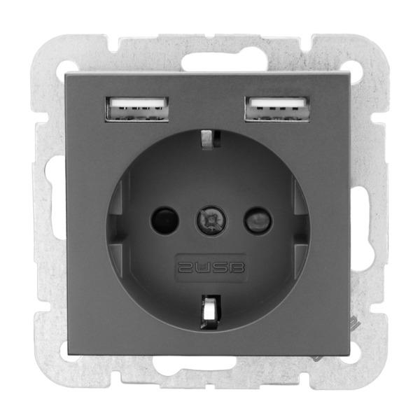 Schutzkontakt-Steckdose mit 2 USB-Ports, anthrazit , 55 x 55 mm, 46 mm tief