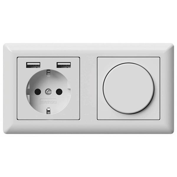 2USB Schutzkontakt-Steckdose mit 2 USB-Ports, reinweiß matt, 55 x 55 mm, VDE zertifiziert