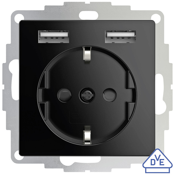 Schutzkontakt-Steckdose mit 2 USB-Ports,  schwarz, 55 x 55 mm, max. 2,4 A Ladestrom, VDE zertifizier