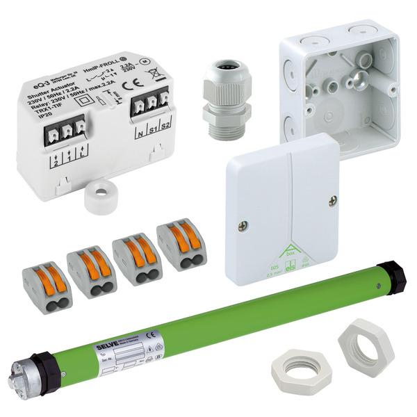 Beschattungsset für Homematic IP mit Unterputz-Rollladenaktor, elektronischer Rohrmotor SEL Plus
