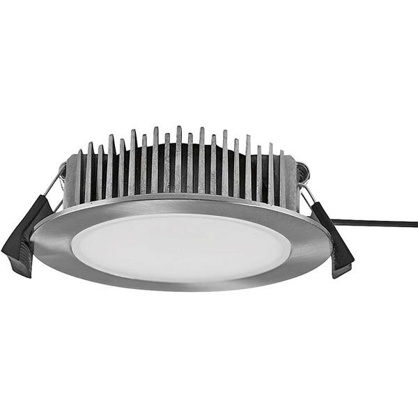 HEITRONIC 13-W-LED-Downlight, rund, Farbtemperatur einstellbar, nickel gebürstet, IP54