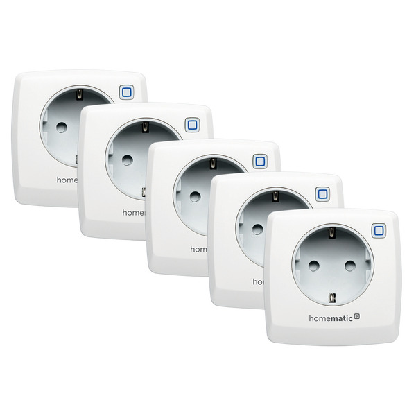 Homematic IP 5er Set Schaltsteckdose HMIP-PS für Smart Home / Hausautomation