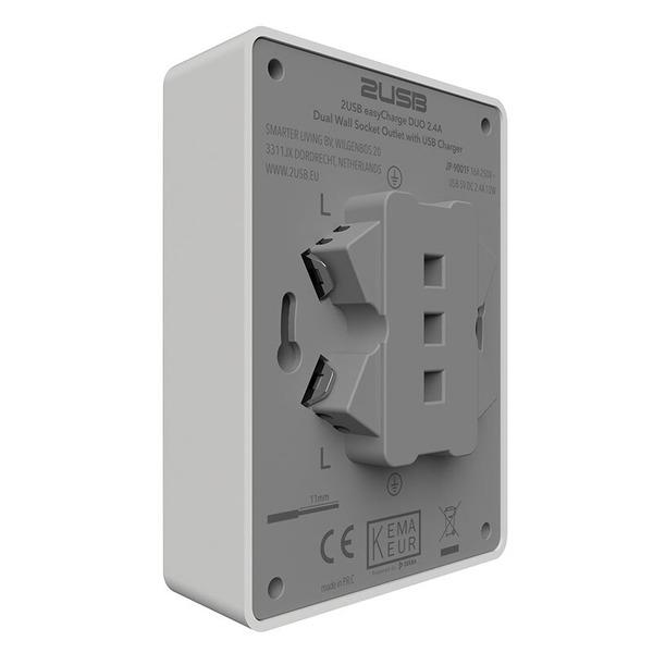 2USB 2-fach-Aufputz-Steckdose für Montage auf Schalterdosen, 16 A, 2 USB-Ports, reinweiß glänzend