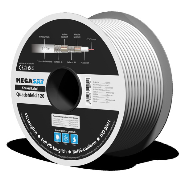 Megasat Koaxialkabel 120, Schirmmaß 110 dB, 4-fach abgeschirmt, weiß, 100 m (Spule)