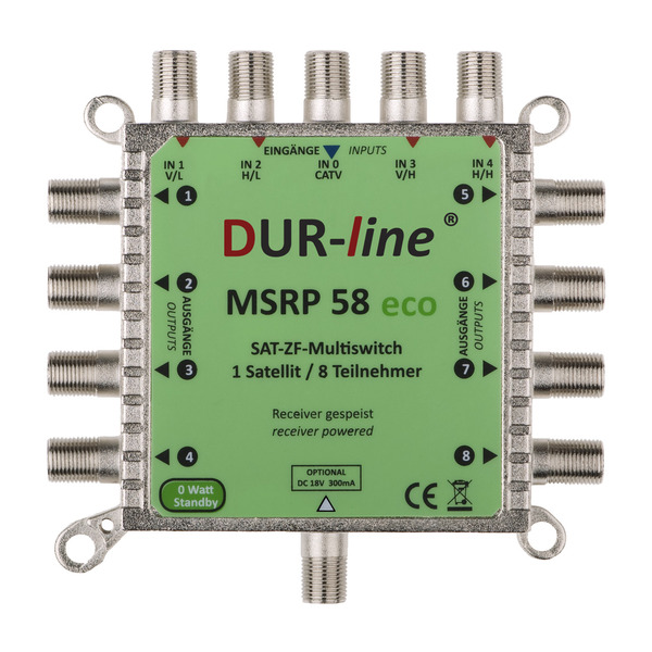 DUR-line ECO-Multischalter MSRP 58 eco, benötigt kein Netzteil, 0 W im Stand-by, sehr niedriger Stro