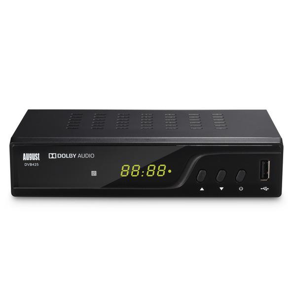 August DVB-T/T2 HD Receiver DVB425, H.265/HEVC, USB-Medienplayer, PVR, Timeshift, Internetradio (LAN