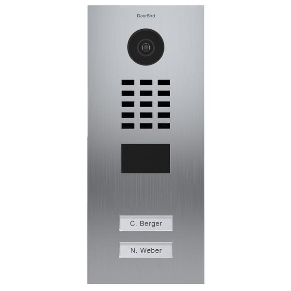 DoorBird LAN-Video-Türsprechanlage D2102V, Unterputz-Version, gebürsteter Edelstahl, Vertikal