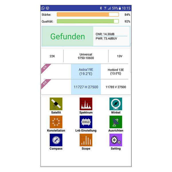 Megasat Satfinder / Sat-Messgerät HD 1 Kompakt, DVB-S/S2, Smartphone-Anbindung, inkl. Powerbank