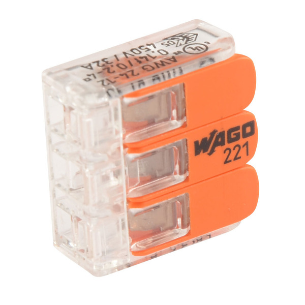 Wago 221-413 COMPACT Verbindungsklemme 3 x 4 mm², 50 Stück
