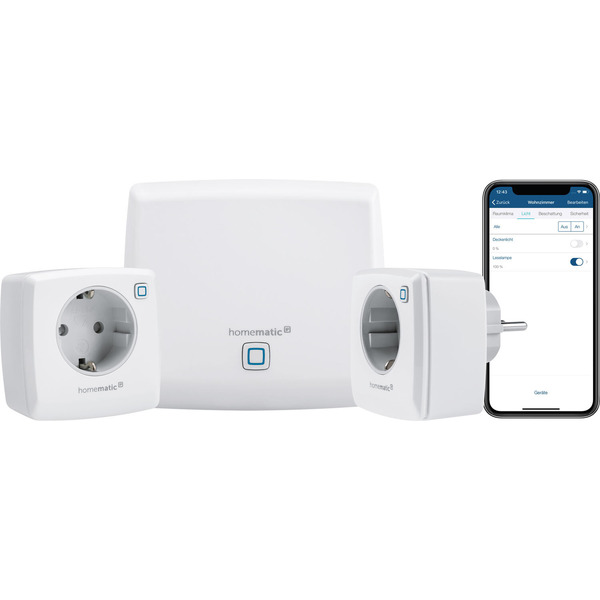 Homematic IP Starter-Set Licht mit Access-Point und 2 dimmbaren Schaltsteckdosen